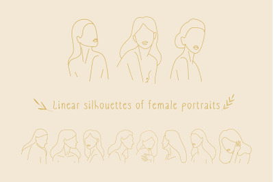 Linear silhouettes of female portraits