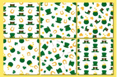 Happy St. Patrick`s Day set ofseamless patterns