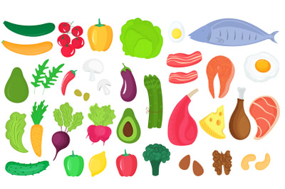 36 icons of food products. Vegetables, fish, meat, nuts