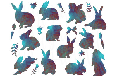 Bunny Silhouetter Watercolor Set
