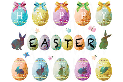 Happy Easter Eggs Watercolor