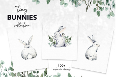 TINY BUNNIES COLLECTION, watercolor easter clipart