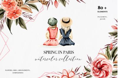 Spring in Paris Watercolor art, watercolopr fashion girls