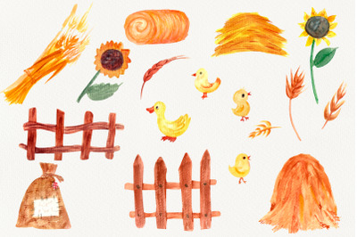 Watercolor Farm clipart. wheat spikelets.