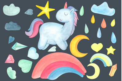 Watercolor unicorn. Weather Clipart.