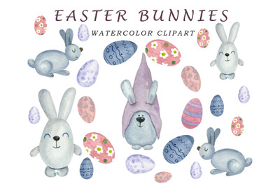 Easter clipart watercolor bunny