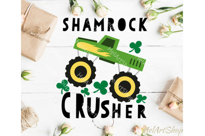 Monster truck svg, St Patrick's day svg, Shamrock crusher