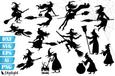 Witch Silhouettes Witch Clip Art SVG PNG EPS JPEG DXF AI