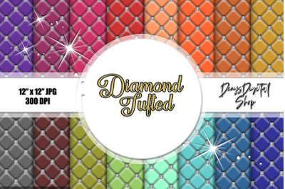 Diamond Tufted Backgrounds, Tufted Digital Paper, Textures
