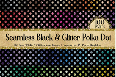 100 Seamless Black & Glitter Polka Dot Digital Papers