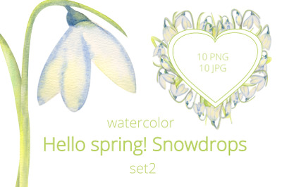 Hello, spring! Romantic frames with snowdrops . Set 2