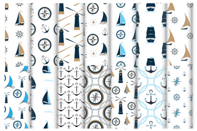 Nautical seamlesspatterns with ships, anchors, lighthouses