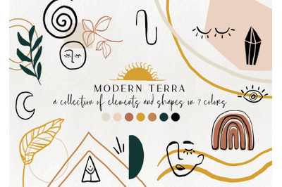 120+ modern abstract design elements - floral illustrations, geometric