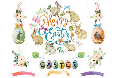Happy Easter Watercolor Elements