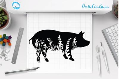 Floral Pig SVG Cut Files, Floral Pig Clipart