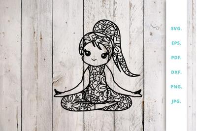 Cute Yoga Girl Out of Mandala 5