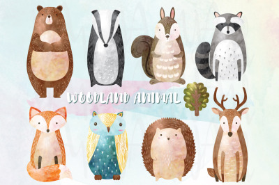Watercolor Woodland Animal Collectio