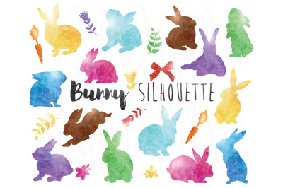 Watercolor Bunny Silhouette