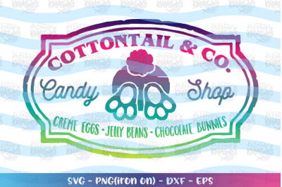 Easter svg Cotton Tail and Co Candy shop emblem