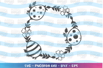 Easter svg Easter wreath monogram circle
