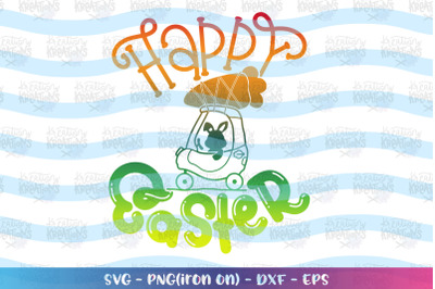 Easter svg Happy Easter push cart kids cute