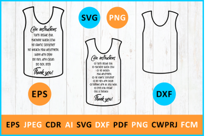 Care instruction Muscle Tanks TShirt svg