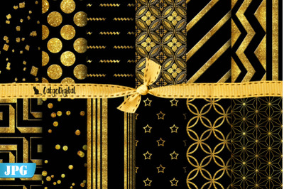 Gold and Black Digital Papers Elegant Papers