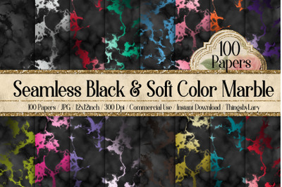 100 Seamless Black & Soft Color Marble Digital Papers