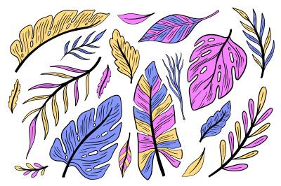 Plant tropic set bright color