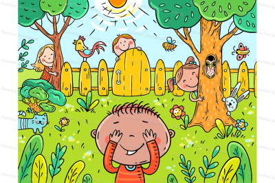 Cartoon children playing hide and seek in the garden