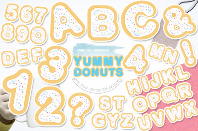 Yummy White Donuts Alphabet and Numbers