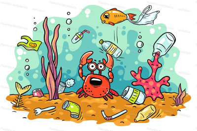 Sea animals suffer from ocean pollution with plastics
