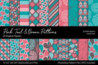 Pink, Teal & Brown Digital Papers
