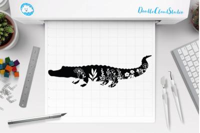 Floral Crocodile SVG Cut Files, Floral Crocodile Clipart