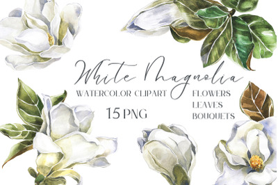 White Magnolia flowers, leaves and Bouquets Watercolor Set