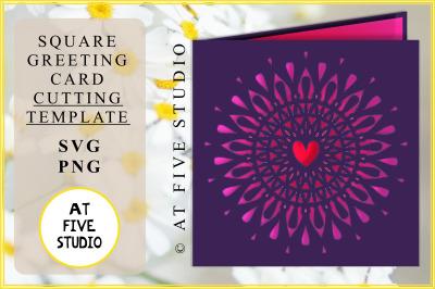 Papercutting Template 'Mandala Burst' SVG PNG Greeting Card