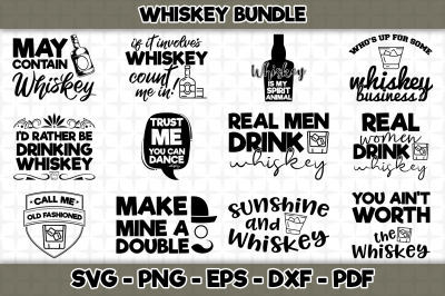 Whiskey SVG Bundle - 12 Designs Included