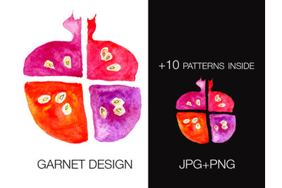 Garnet watercolor as isolated design element + 10 seamless patterns