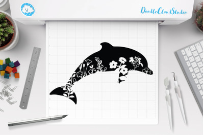 Floral Dolphin SVG Cut Files, Dolphin Clipart