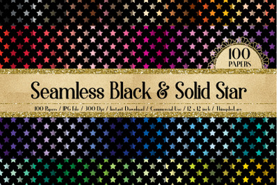 100 Seamless Black and Solid Star Pattern Digital Papers