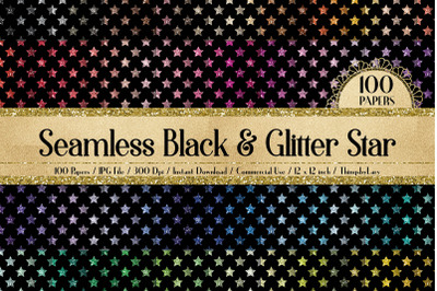 100 Seamless Black and Glitter Star Pattern Digital Papers
