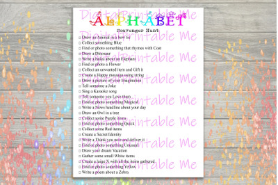 Alphabet Scavenger Hunt Printable, Kids Activity, Game, Download, part