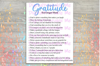 Gratitude Scavenger Hunt Printable, Kids Activity, Game, Download, tha