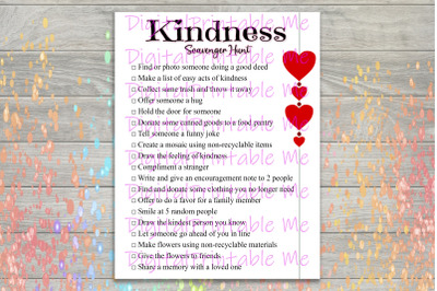 Kindness Scavenger Hunt Printable, Kids Activity, Game, Download, than