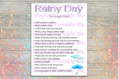 Rainy Day Scavenger Hunt Printable, Kids Activity, Game, Download, tha