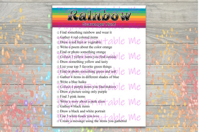 Rainbow Scavenger Hunt Printable, Kids Activity, Game, Download, Color