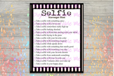Selfie Scavenger Hunt Printable, Adult party game, Kids Activity, Game