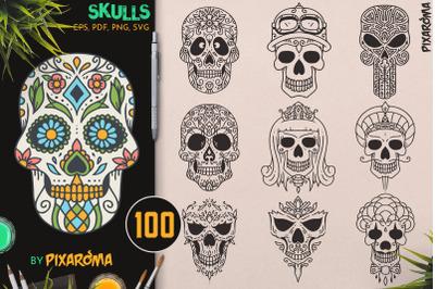 100 Decorative Vector Skulls