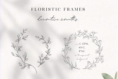 Line Drawing Floristic Wreaths, Sprigs clipart hand drawn fine art