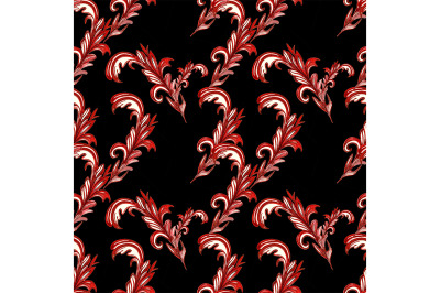 Seamless abstract pattern on a black background with curls